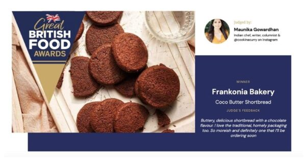 Picture showing the award won by Frankonia for their Coco Butter Biscuits